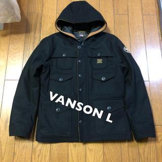 バンソン(VANSON)のLサイズ!VANSON バンソン 古着メルトンジャケット フード付きジャケット黒(ブルゾン)