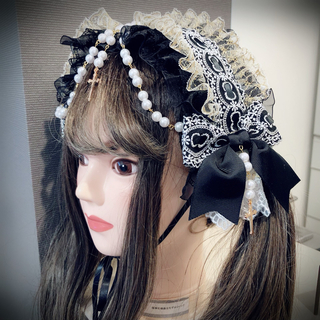 アンジェリックプリティー(Angelic Pretty)の漆黒の十字架ヘッドドレス 金×黒(ヘアバンド)