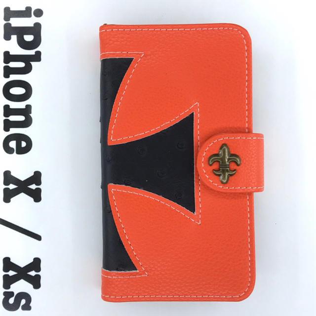 オレンジ 黒 iPhoneX、iPhoneXS手帳型 ケース ♡ 大人気 ♡の通販 by ★はな's shop|ラクマ