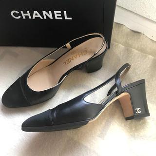 7107e4a33917 シャネル(CHANEL)のシャネル スリングバック パンプス サンダル 16 ブラック ココ 美品 良品