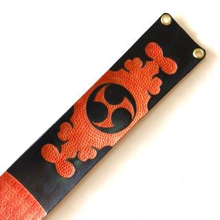 三線 胴巻き ティーガー 高級本牛革 レザーカービング 御紋 オレンジ (三線)