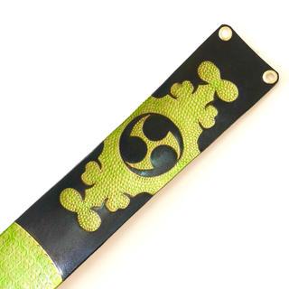 三線 胴巻き ティーガー 高級本牛革 レザーカービング 御紋 ライトグリーン(三線)