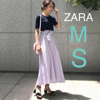 ザラ(ZARA)の新品!ZARA ボタン付き リネンスカート パープル 紫(ひざ丈スカート)