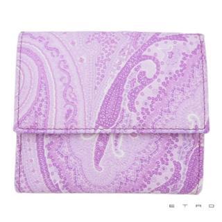 エトロ(ETRO)の新品エトロETROペイズリー柄 コンパクト二つ折り財布パープル(財布)