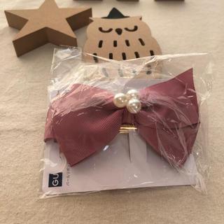 ジーユー(GU)の新品 リボン ヘアバレッタ くすみピンク色(バレッタ/ヘアクリップ)