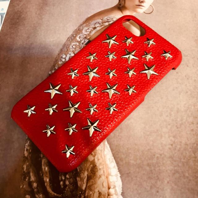 スタースタッズ☆本革 iPhoneカバーケース レッド enchanted.LAの通販 by heavenly's shop|ラクマ