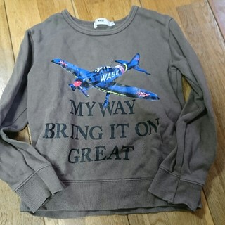 ワスク(WASK)の値下げ!WASK 飛行機 綿 トレーナー ブラウン(Tシャツ/カットソー)