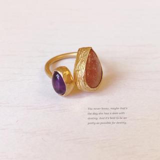 【インド製】天然石×真鍮ピンキーリング♤︎美品♤︎サイズフリー(リング(指輪))