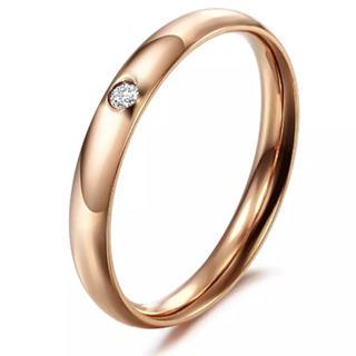 キラキラ 1粒ダイヤリング 丈夫なチタンステンレス ピンクゴールド 14号(リング(指輪))