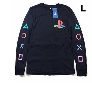 プレイステーション(PlayStation)の残①プレイステーション オフィシャル 袖ロゴ ロンT【L】黒 新品 180613(Tシャツ/カットソー(七分/長袖))