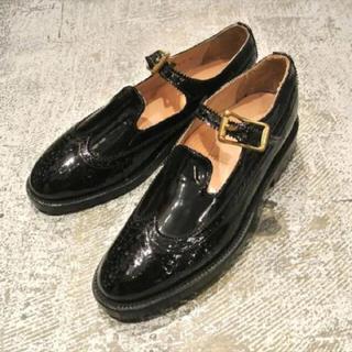 アトリエドゥサボン(l'atelier du savon)のyuketen★エナメルウイングチップストラップレザーシューズ(ローファー/革靴)