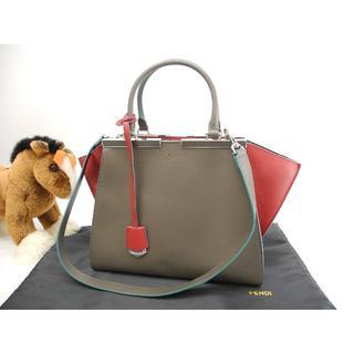 フェンディ(FENDI)のフェンディ トロワジュール レザー グレー赤 ハンドバッグ 美品@ 142(ハンドバッグ)
