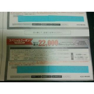 ■送料無料■ au スペシャルクーポン銀 22000円×1枚クーポン券(その他)