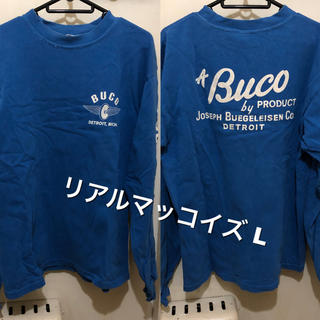 ザリアルマッコイズ(THE REAL McCOY'S)のLサイズ!BUCOブコ リアルマッコイズ 古着長袖Tシャツ ロンT 青×白(Tシャツ/カットソー(七分/長袖))