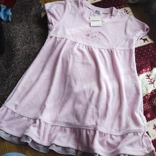 クラウンバンビ(CROWN BANBY)の新品クラウンバンビ ベロアフリルチュニックワンピ 150 ピンク 女の子 半袖(ワンピース)