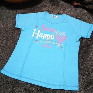 クラウンバンビ(CROWN BANBY)の新品クラウンバンビ ハートデザイン半袖Tシャツ 130 ブルー 女の子(Tシャツ/カットソー)