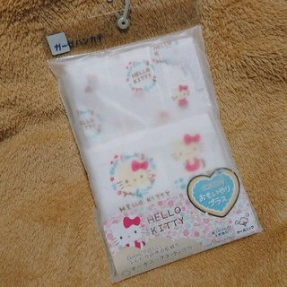 ハローキティ(ハローキティ)の新品未開封 キティ ガーゼハンカチ 五枚セット 新生児 出産準備 赤ちゃん(その他)