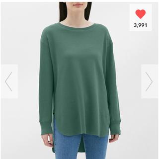 ジーユー(GU)のグリーン Lサイズ ハニカムロングスリーブT GU ジーユー(Tシャツ(長袖/七分))