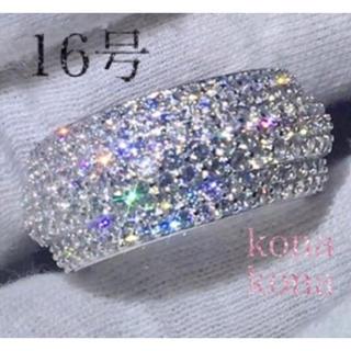 16号ワイドフルパヴェリング高級5Aczダイヤモンド.シルバー925(リング(指輪))