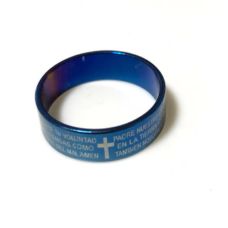 同時購入で300円 ステンレス指輪メタリック ブルー(リング(指輪))