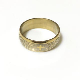 同時購入で300円 ステンレス指輪 ゴールドクロス カーブ(リング(指輪))