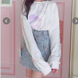 ボボンニジュウイチ(Bobon21)のBobon21ウエストリボンツイードスカート(ミニスカート)