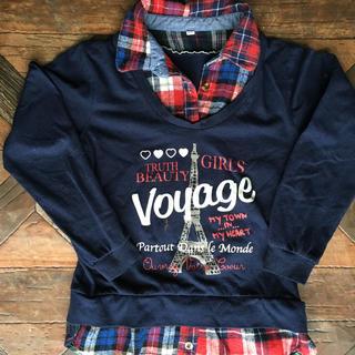 シマムラ(しまむら)の重ね着風  紺のカットソー  140cm!(Tシャツ/カットソー)