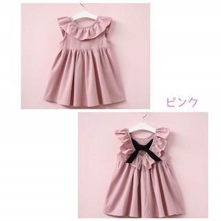 韓国子供服 バックリボン ワンピース ピンク 120(ワンピース)