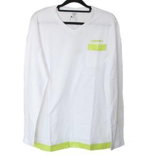 アディダス(adidas)の新品◆(М)adidas 白マテリアルミックスロンTシャツ(Tシャツ/カットソー(七分/長袖))