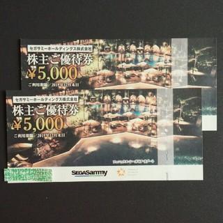 セガ(SEGA)の追跡あり セガサミーHD 株主優待券 1万円分 [フェニックス・シーガイア](遊園地/テーマパーク)