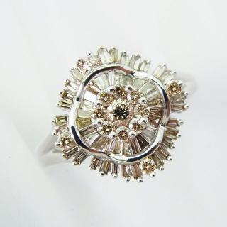 K18WG ブラウン ダイヤモンド リング 15号 [f397-8] (リング(指輪))
