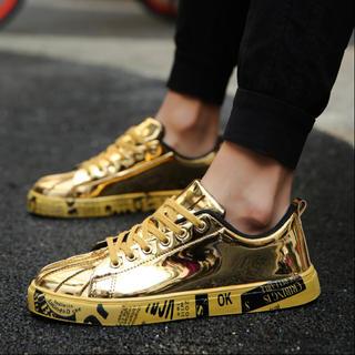 ゴールド メンズ レデイース  スニーカー 靴 秋冬 レースアップ ファッション(スニーカー)