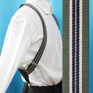 日本製 サスペンダー ホルスター ズボン吊り ストライプ ベージュライン(サスペンダー)