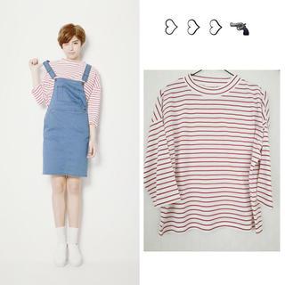 ジーユー(GU)のGU♡赤ボーダートップス(Tシャツ(長袖/七分))