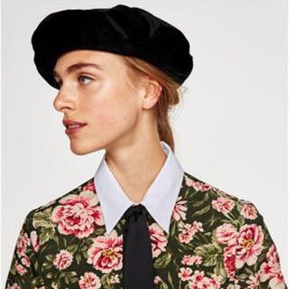 ザラ(ZARA)のザラ ベロア ベレー帽(ハンチング/ベレー帽)