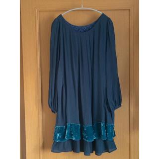 アズノゥアズドゥバズ シフォン×ベロア素材 長袖ワンピース 深緑色 サイズフリー
