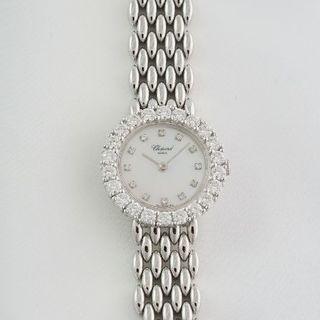 ショパール(Chopard)のショパール☆18KWG無垢☆ダイヤモンド☆白蝶貝☆クォーツ☆中古美品(腕時計)