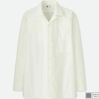ユニクロ(UNIQLO)のユニクロ U オープンカラーシャツ ホワイト M 新品(シャツ)