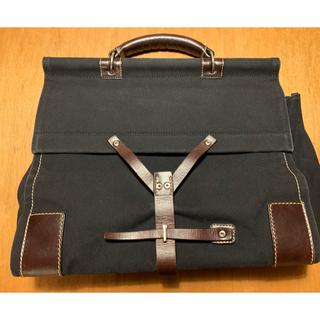 ステファノマーノ(Stefano manO)のステファノマーノキャンバス素材ブリーフハンドバッグ黒イタリア製(ビジネスバッグ)