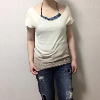 ディープスウィートイージー(deep sweet easy)の【美品】deep sweet easy グラデーション×かぎ編みレース Tシャツ(Tシャツ(半袖/袖なし))