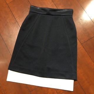 バーニーズニューヨーク(BARNEYS NEW YORK)のYOKO CHAN ヨーコチャン バイカラータイトスカート ネイビー(ひざ丈スカート)