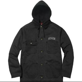 シュプリーム(Supreme)のSupreme Hooded Chore Coat 黒 L(カバーオール)