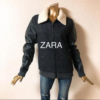 ザラ(ZARA)の☘R483☘ ZARA レザー 切替 ツイード風 ジャケット M(その他)