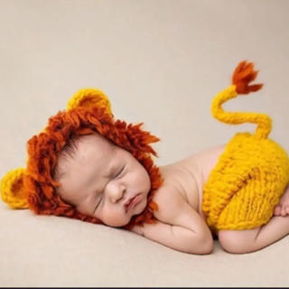 0d9a9af00476e 赤ちゃん 撮影 ライオン 着ぐるみ コスチューム ニューボンフォト 寝相アート(その他)