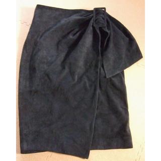ノーベスパジオ(NOVESPAZIO)の●巻きスカート ラップスカート 革スカート スウェード ブラック 黒 エレガント(ひざ丈スカート)