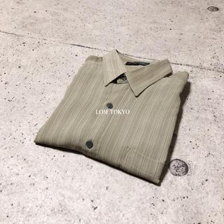 [used]khaki gray stripe shirt.(シャツ)