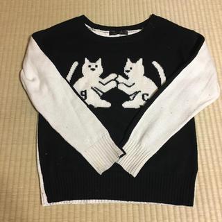グースィー(goocy)のgoocy  バイカラー  猫ちゃんニット(ニット/セーター)