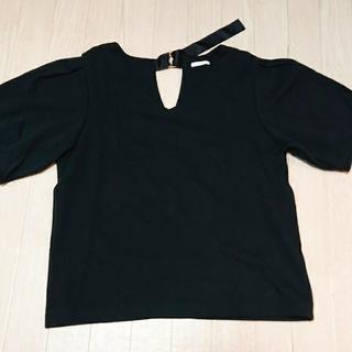ジーユー(GU)のGU 黒のブラウス XL(シャツ/ブラウス(半袖/袖なし))