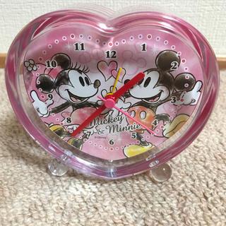 ディズニー(Disney)のミッキー&ミニー  ハート形置き時計(最終値下げ)(置時計)