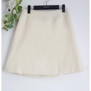 フォクシー(FOXEY)の値下 フォクシー カシミアスカート 定価7.5万円 ホワイト(ひざ丈スカート)